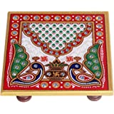 Handicrafts Paradise Marble Pooja Chowki (10.2 cm x 10.2 cm x 2.55 cm),Multicolor