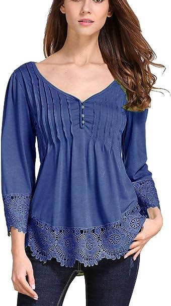 011834 * 40//42 Romantisch Verspielte Damen Bluse Blusenshirt Blau Bedruckt Gr