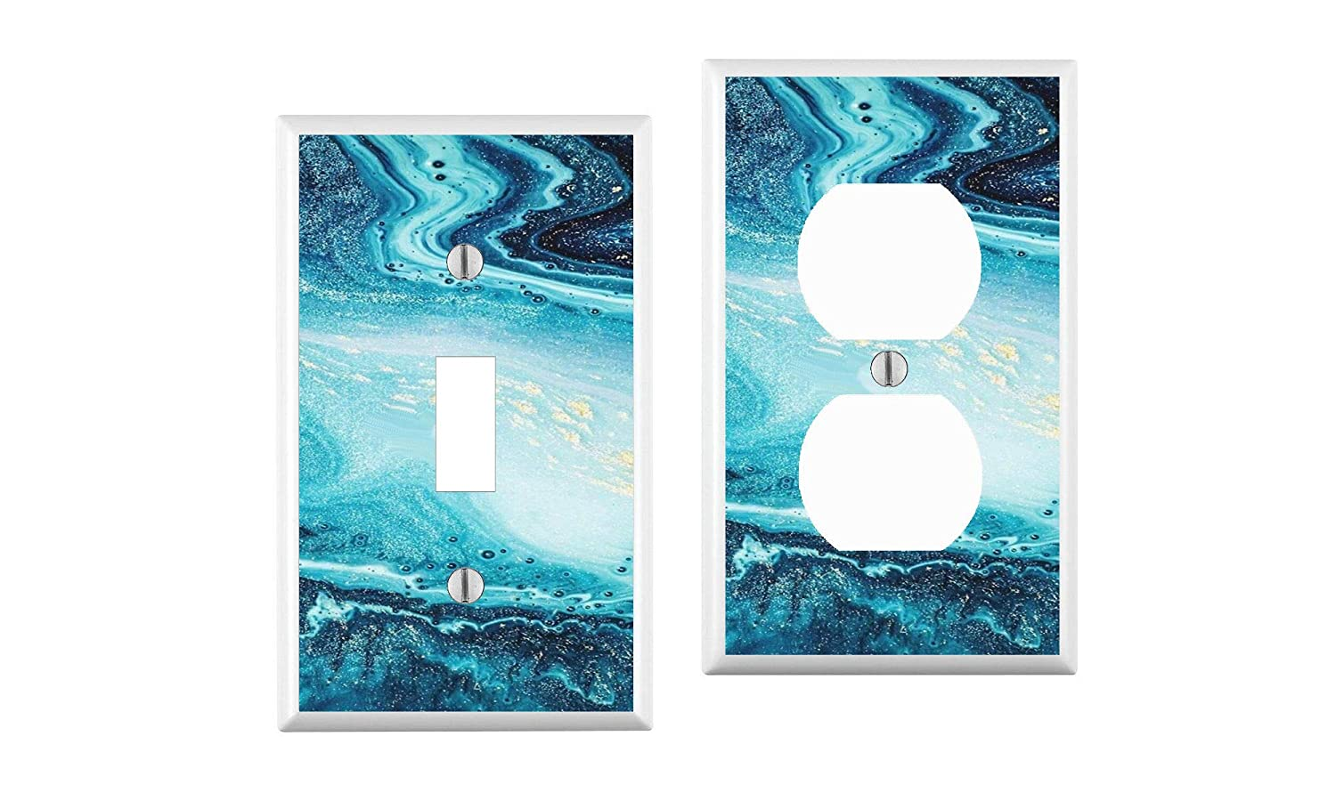 your custom choice of switch plate//outlet covers Blue Marble Light Switch Cover