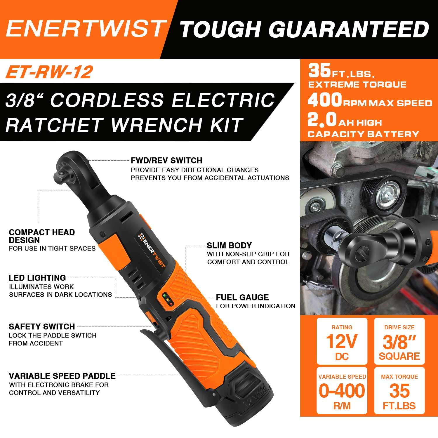 EnerTwist Cordless Electric Ratchet Wrench 3/8 Inch with 12V Lithium-ion Battery and Fast Charger Includes 7-Piece 3/8'' Metric Sockets Kit and 1/4'' Adaptor, ET-RW-12 by ENERTWIST (Image #2)