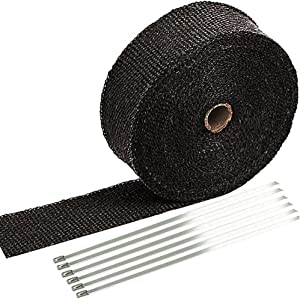 "SunplusTrade 2"" x 50' Black Exhaust Heat Wrap Roll for Motorcycle Fiberglass Heat Shield Tape with Stainless Ties"