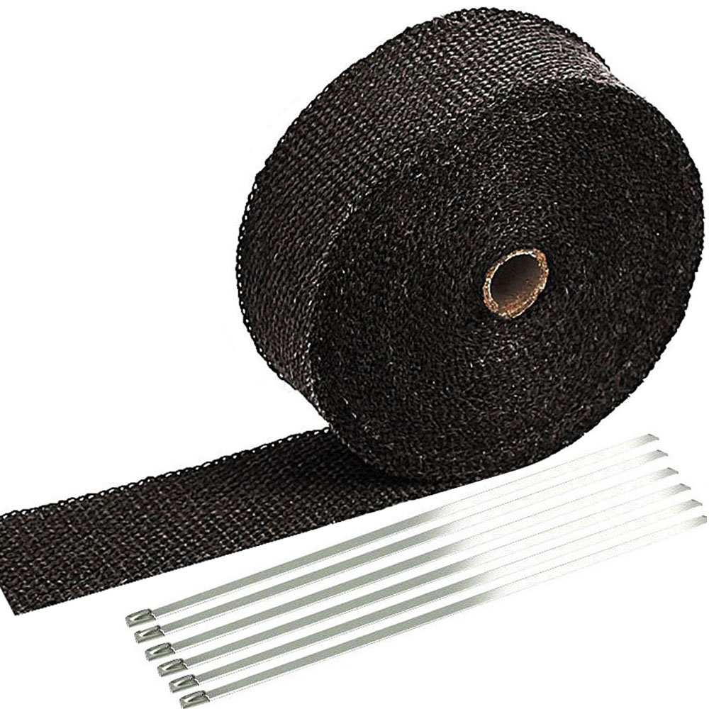 SunplusTrade 2'' x 50' Black Exhaust Heat Wrap Roll for Motorcycle Fiberglass Heat Shield Tape with Stainless Ties