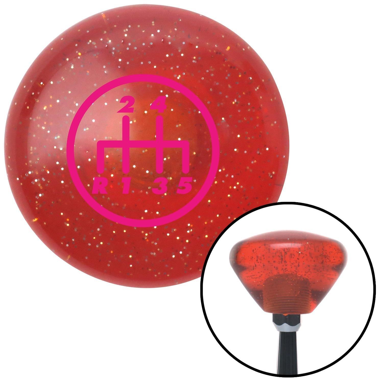 American Shifter 176044 Orange Retro Metal Flake Shift Knob with M16 x 1.5 Insert Pink 5 Speed Shift Pattern - 5DR-RDL