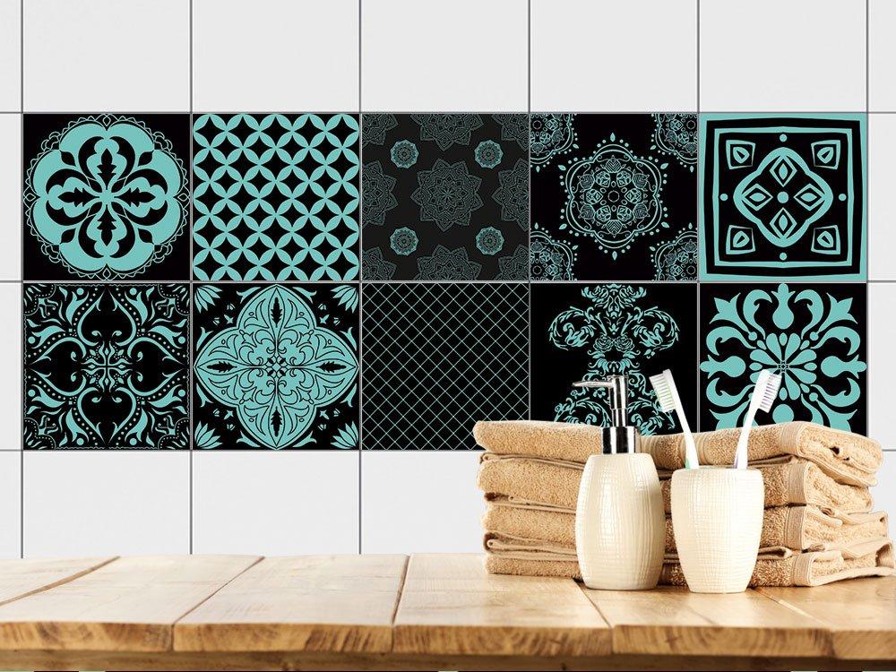 GRAZDesign Fliesenfolie Küche & Bad Mandala - Fliesenbilder Küche marokkanische Deko - Fliesenfolie orientalisch - Fliesenaufkleber   10x10cm   770350_10x10_FS30st