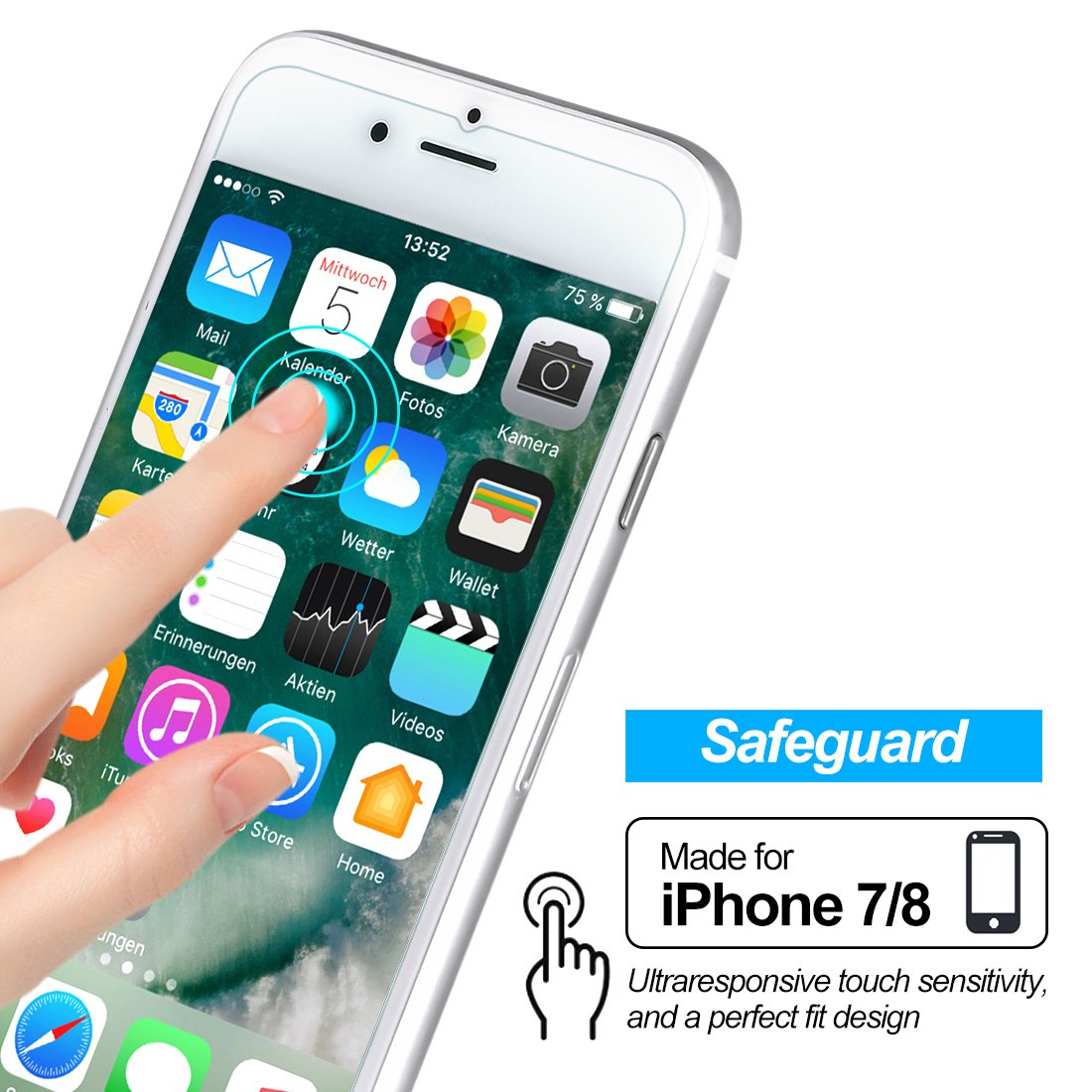 Screen Protector Compatible, [4.7inch] Tempered Glass Screen Protectors 0.2mm Screen Protector Glass Compatible with iPhone 8 7 6 6s Work with Most case 99% Touch Accurate(3 Packs)