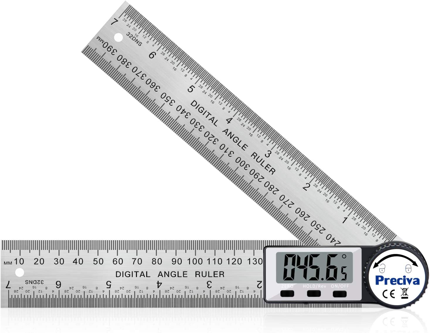 Digital Angle Finder Ruler 7-Inch Protractor 200mm Stainless Steel Angle Gauge