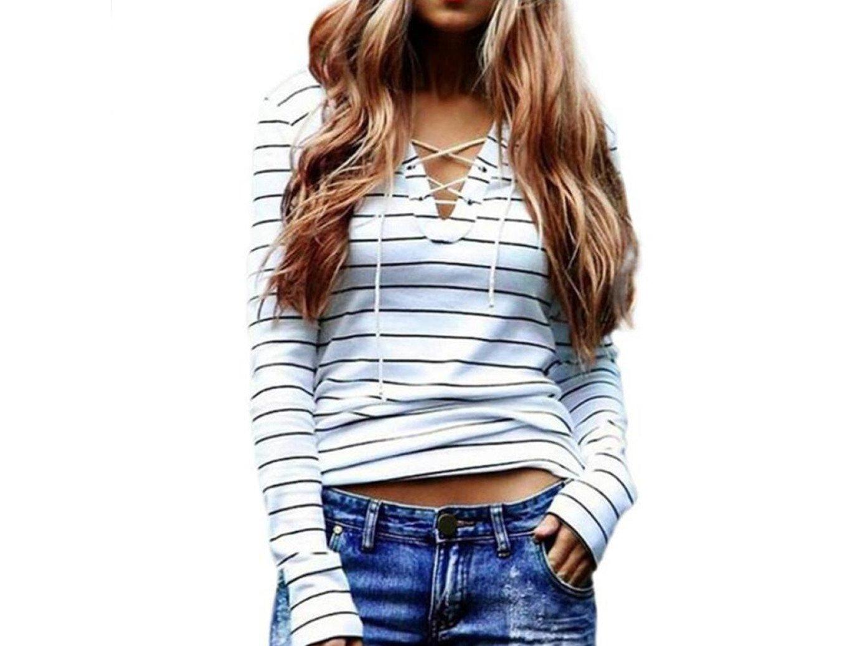 YANG-YI Women Stripe Long Sleeve Tops Casual Blouse T-Shirt