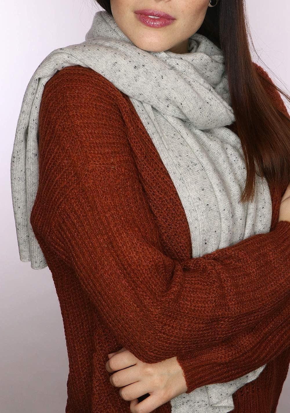 prettystern LUXUS 200 cm x 55cm Cachemira doble hilo tejido para el invierno suave y abrigado