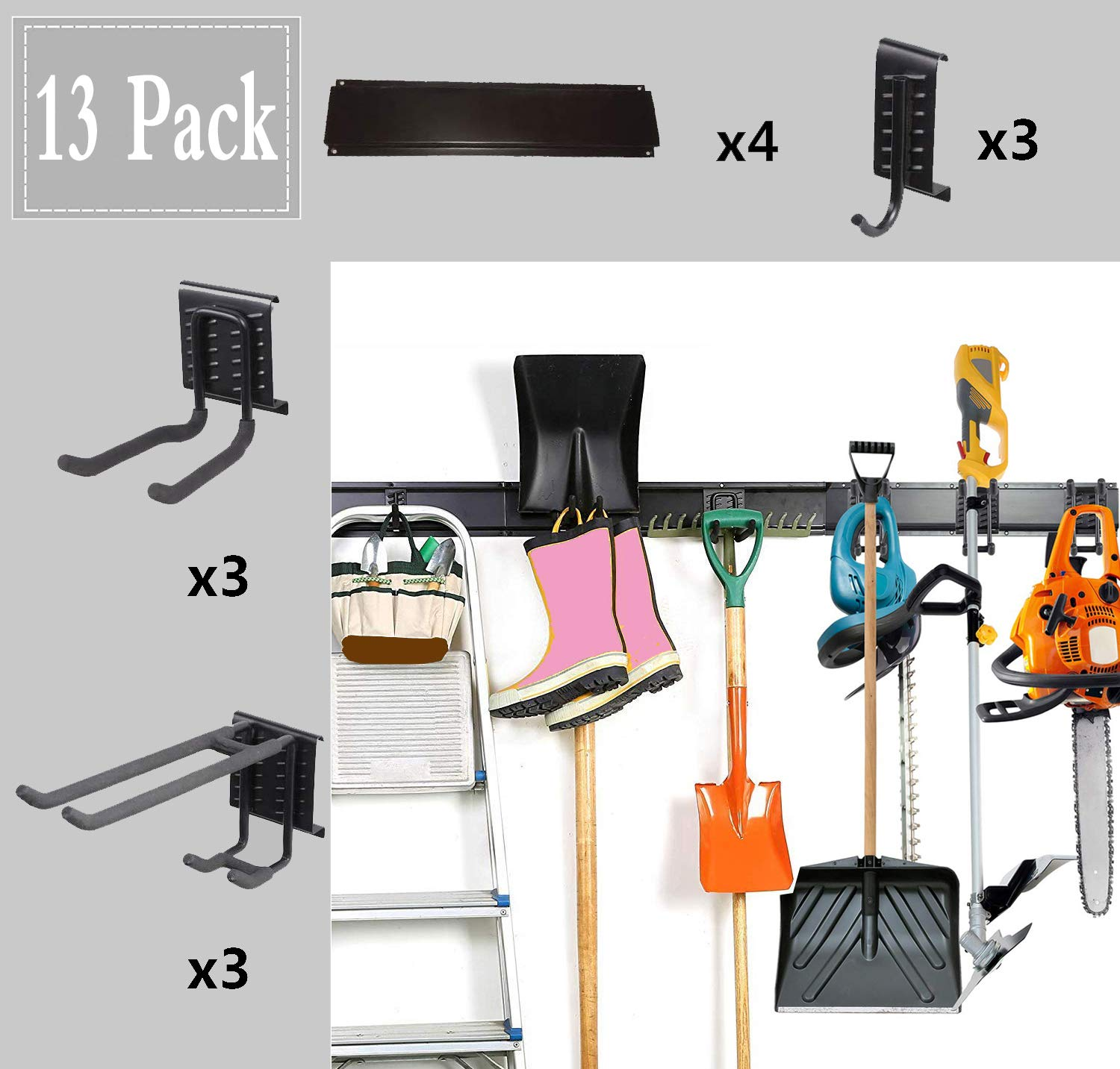 """13PC Garage Organizer,64"""" Garage Hooks And Hangers Steel Tool Storage,Metal Utility Double Hooks,Heavy Duty for Organizing Power Tools,Laddy,Bulk Items,Wall Mount Tool Holder for Home Chair Ladder"""