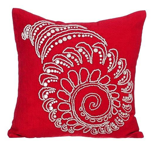 rojo fundas de cojin, 30x30 cm terciopelo de algodón fundas ...