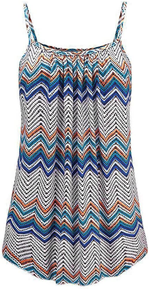 WOCACHI 2020 Summer Womens Plus Size Tank Tops Boho Floral Sleeveless Vest Oversized Spaghetti Strap Blouse Camis S-6XL