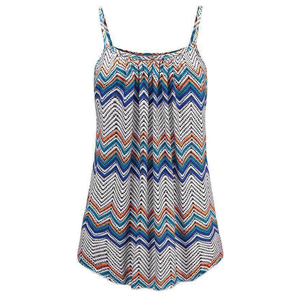 Blouses for Women VANSOON Fashion Summer Printed Sleeveless Vest Blouse Tank Tops Camis Shirts Blue