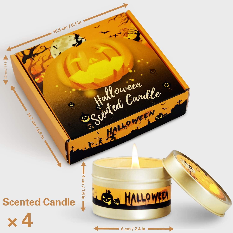 K/ürbis Duft Halloween Serie 4 x 75g SCENTORINI Duftkerzen Set 100/% Sojawachs Kerze im Dose