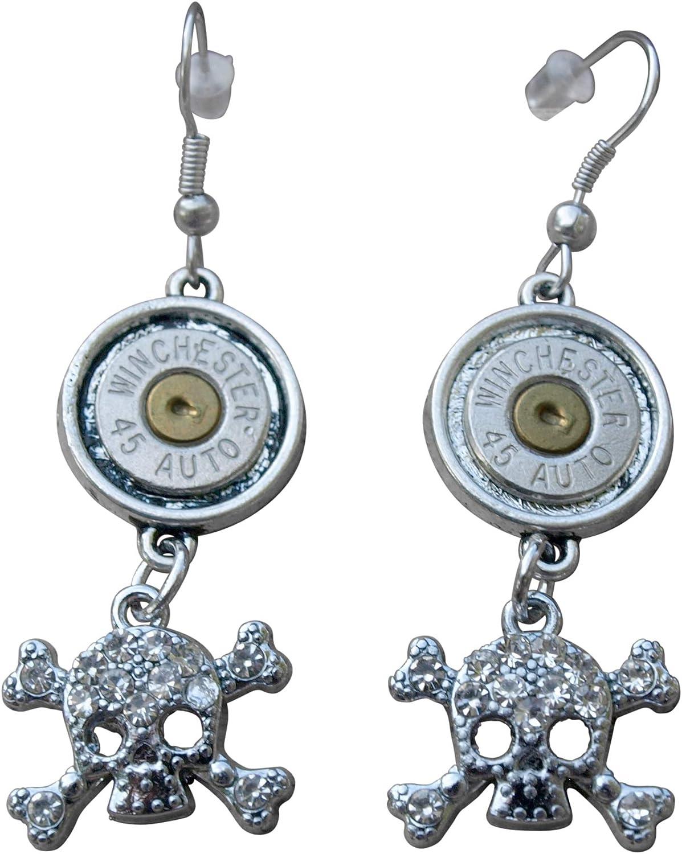 Gun Charms /& Crystal S-619 Handmade Bullet Necklace /& Earrings,Nickel 45/'s