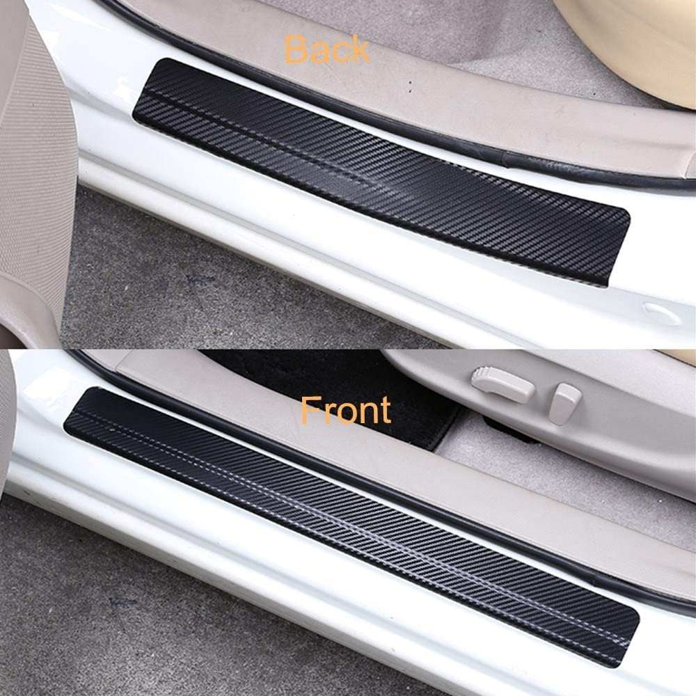 Dnasrivew 4Pcs//Set 3D Carbon Fiber Car Door Sill Scuff Cover Anti-Scratch Film Sticker Silver Grey
