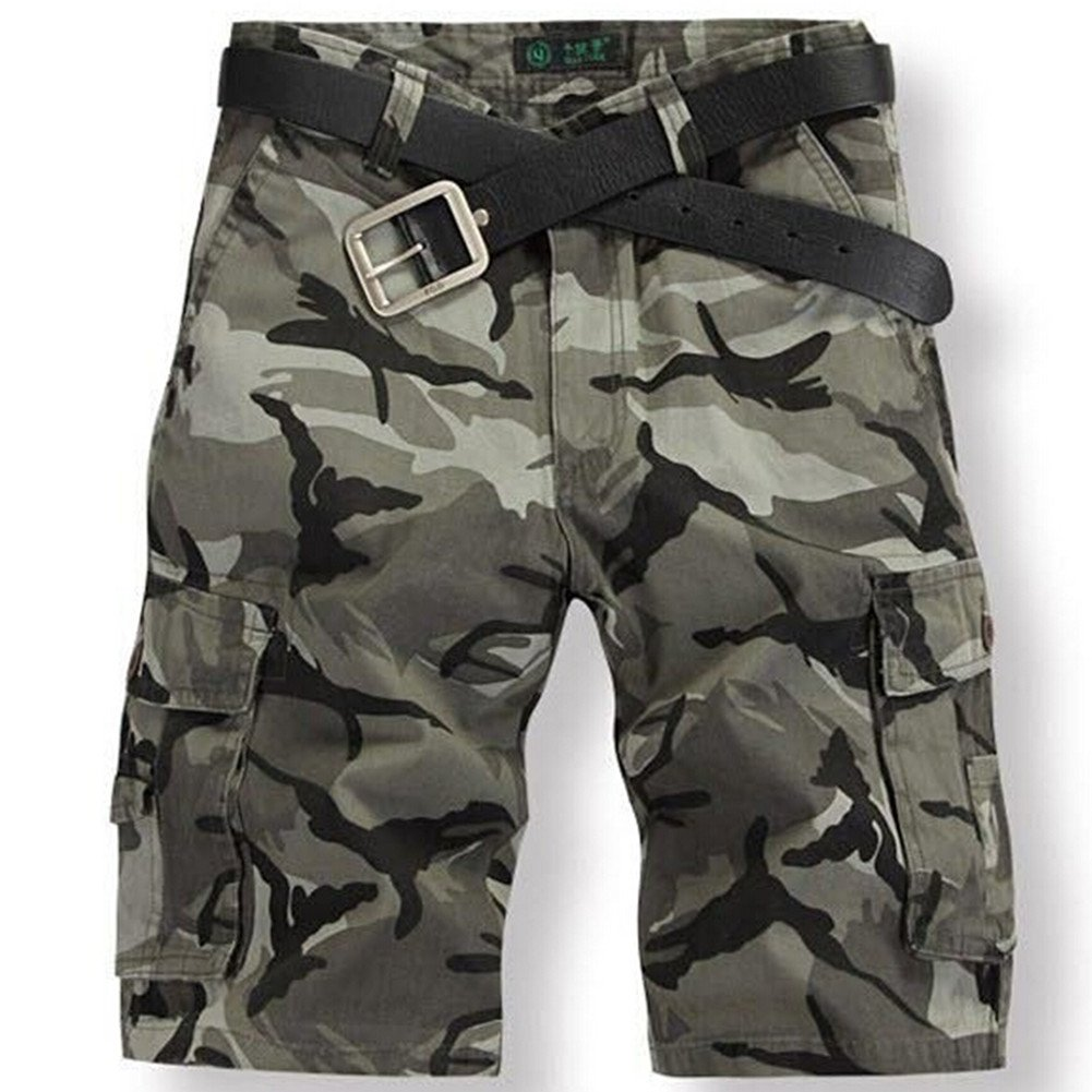 CRAZY Men's Retro Cotton Multi-Pocket Camo Cargo Shorts-liggreCamo-36 [Apparel]