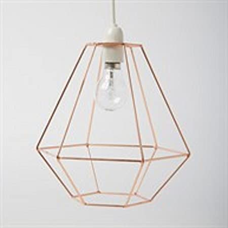 On trend hanging copper metal lampshade geometric celing pendant on trend hanging copper metal lampshade geometric celing pendant wire frame greentooth Choice Image