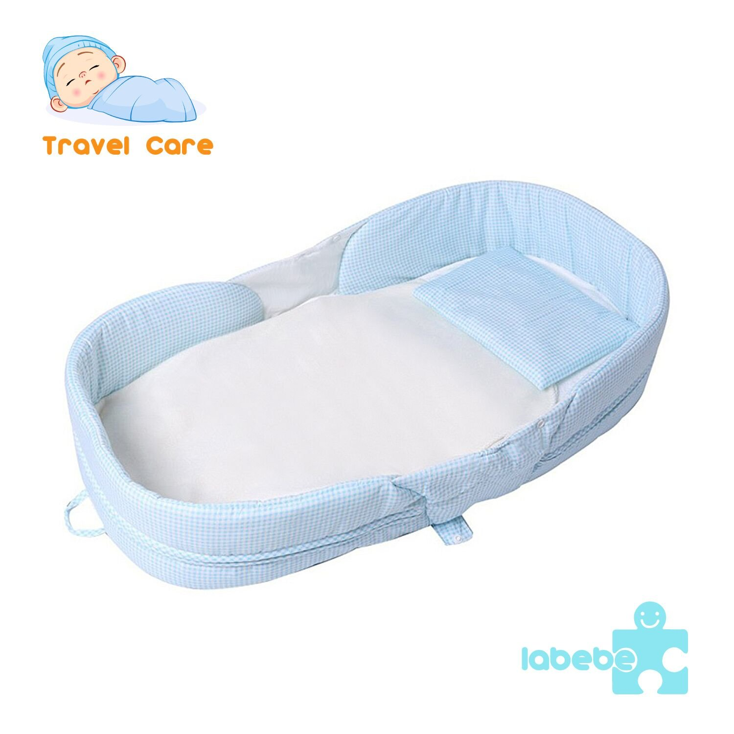 Labebe Baby Travel Bed Set, Sky Blue Grid Travel Cot for Babys up to 1 Year, Kids Travel Bed Sheet/Airplane Travel Bed Spread/Toddler Travel Bed Accessories/Portable Travel Bed Pillow/Travel Bed Cover