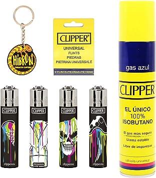 Image of Clipper 4 Mecheros Encendedores Diversos Surtidos Bonitos Baratos,1 Carga Gas Encendedor Clipper 300 Ml,9uds De Piedra Clipper Y 1 Llavero Hibron Gratis 1-10003-5
