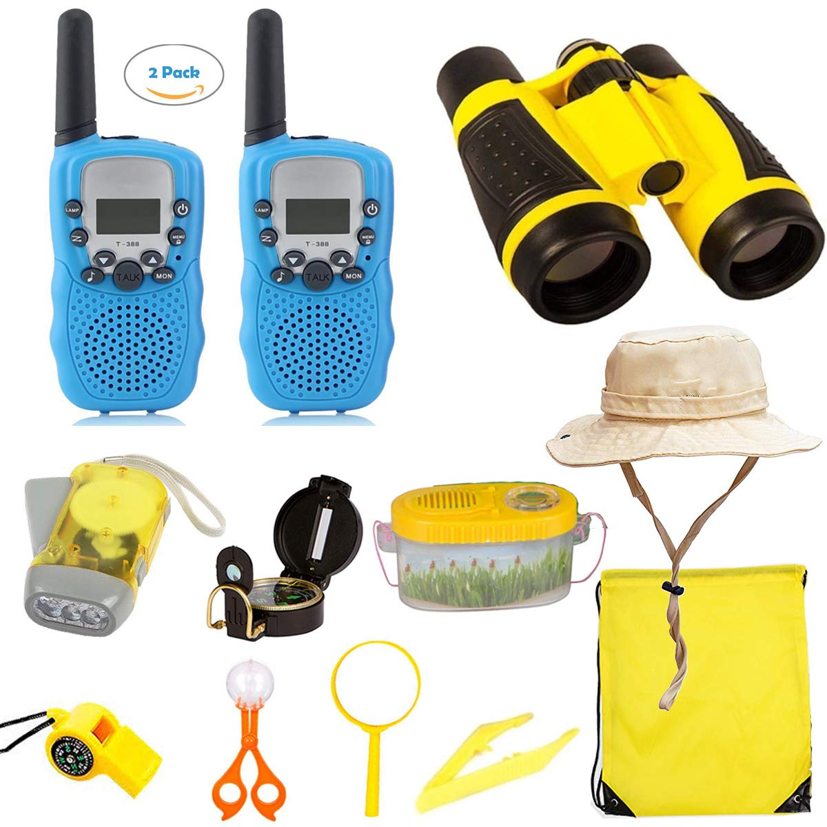 Woltechz Outdoor Toy Explorer Kit for Kids, 2packs Walkie Talkies with 3KM Long Rang 22 Channels 2 Way Radio/ Binoculars for Kids/Flashlight/ Compass and Adventure kit for Boys or Girls by Woltechz (Image #9)