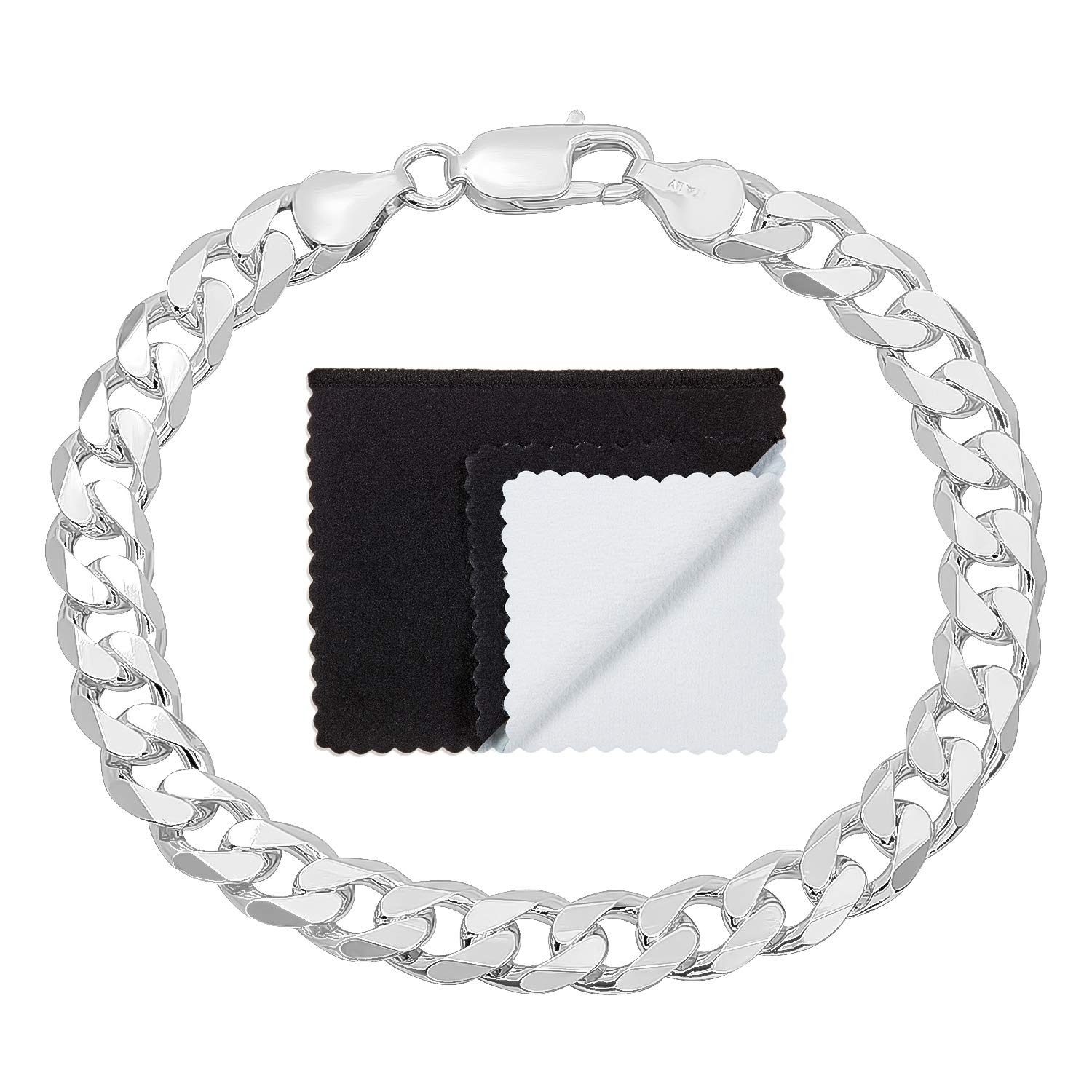 Boy's 8.5mm Thick .925 Sterling Silver Italian Crafted Beveled Cuban Curb Link Bracelet, 7 inches