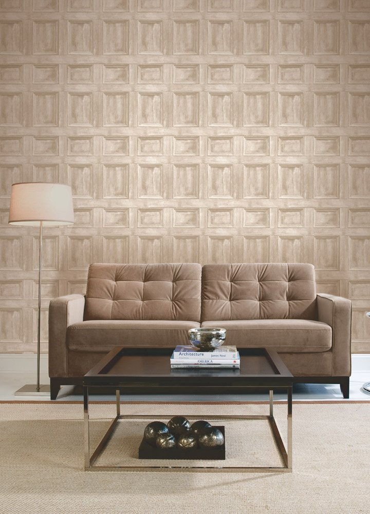 Chocolate Madera Panel Wallpaper Brewster FD31055