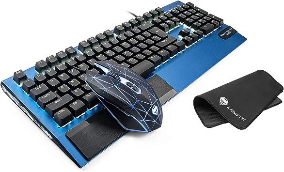LANGTU K1000 Combo de Teclado mecánico y ratón con Alfombrilla Azul, Teclado ergonómico con Cable USB Natural, Aluminio Industrial, Interruptor Azul ...