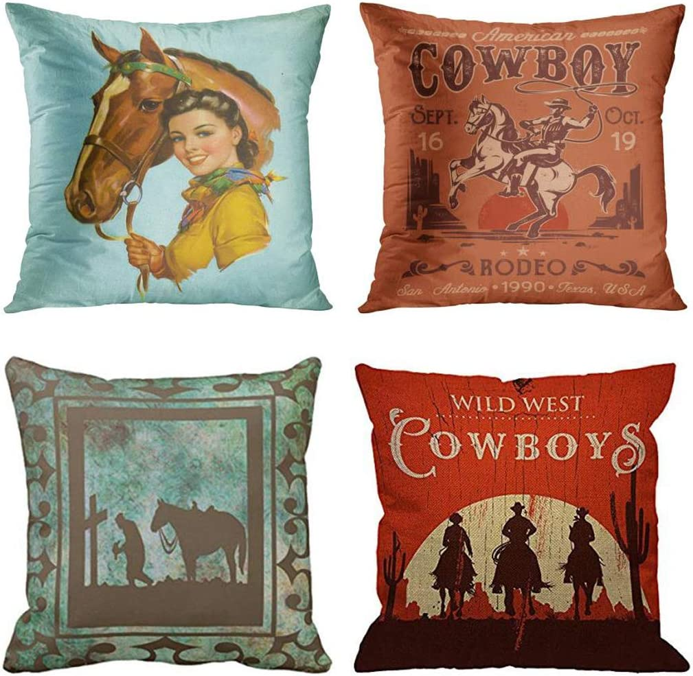 Emvency Set of 4 Throw Pillow Covers Retro Vintage Horse Western Cowboy Cow Girl Pet Cute Rodeo Decorative Pillow Cases Home Decor Square 18x18 Inches Pillowcases