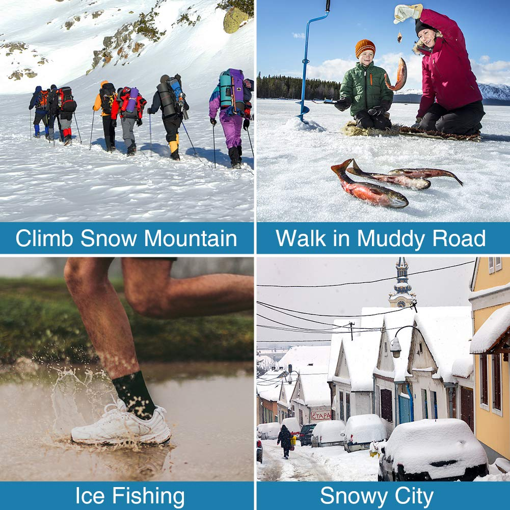 19 Stainless Steel Spikes Traction Cleats Such as Climbing Walking Jogging Ice /& Snow Grips for Safe Outdoors Mounchain Crampons Hiking