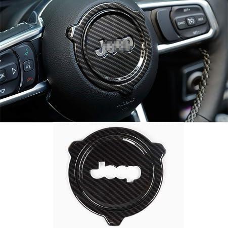 Garniture de Couvre-Volant pour Jeep Wrangler JL 2018,Carbonfiber L/&U Accessoires internes Auto Anneau Central Volant