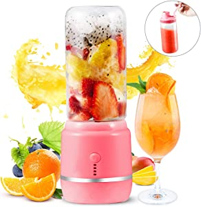 Portable Blender, Yeaky Personal Blender for Shakes and Smoothies with a Travel Lid, USB Rechargeable Blend Jet, Serve as Power Supply, 14oz/420ml Glass Juice Mixer for Home, Office,Gym,and Outdoor(pink)
