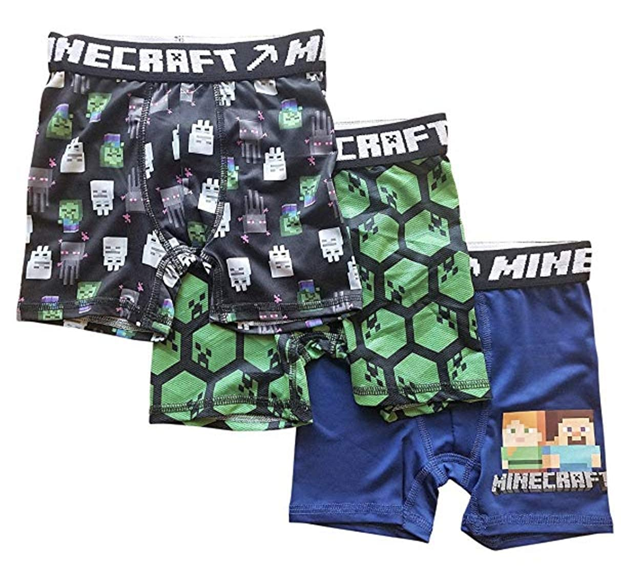 Steve Alex 3 Pack Minecraft Boys Boxer Briefs Skeleton with Creepers
