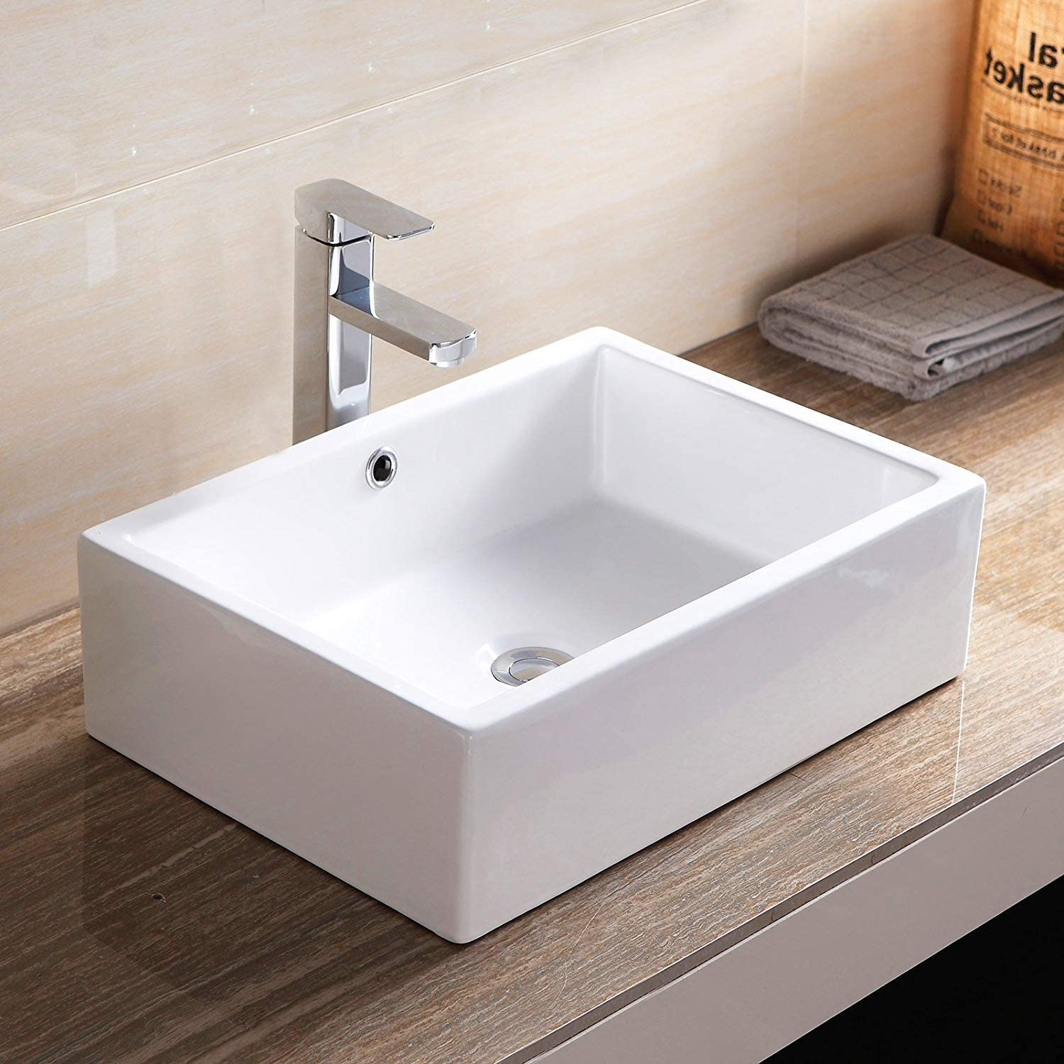 Mecor 20 x14.5 Rectangle Bathroom Ceramic Vessel Sink Basin White Vanity Sink with Pop -up Drain