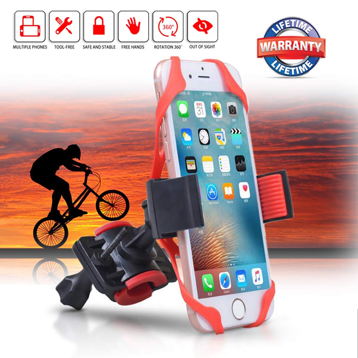 fit Bike//Motorcycle,Easy to Install Motorcycle Phone Mount Holder Securely and Sturdy fits iPhone X 8 8 Plus 7 7 Plus 6 6 Plus Motorcycle Phone Mount Bike Phone Mount Securely and Sturdy fit Different Size Phones Bike Phone Holder with Silicone Strap