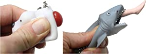 Curious Minds Busy Bags 2 Novelty Keychains - Pooping Dog and Shark Attack - Sensory Anxiety Fidget Gag