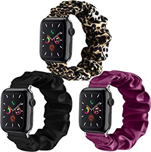 Mugust 3 Pack Compatible for Apple Watch Bands 38mm 40mm Scrunchies Elastic Watch Bands Women Bracelet Strap for iWatch Series 6 5 4 3 SE 2 1 (38mm/40mm S/M, Black+Fuchsia+Leopard)