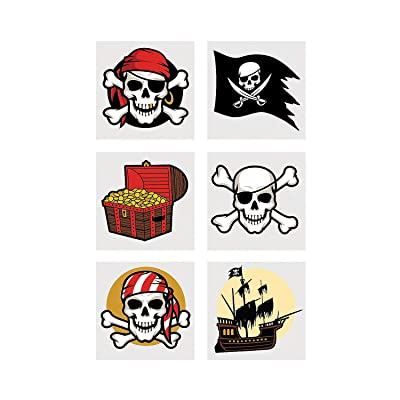Fun Express - Pirate Tattoos - Apparel Accessories - Temporary Tattoos - Regular Tattoos - 72 Pieces: Toys & Games