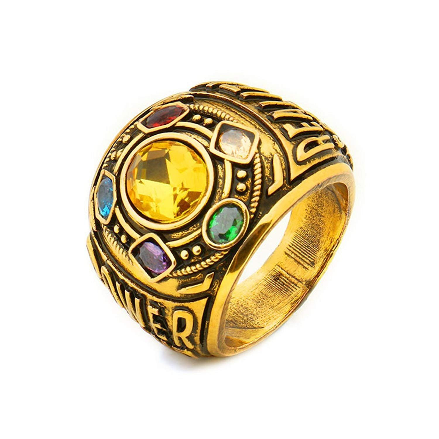 Joyfunny Thanos Power Ring Deluxe Infinity Cosplay Golden Ring with Crystals Costume Prop A-11