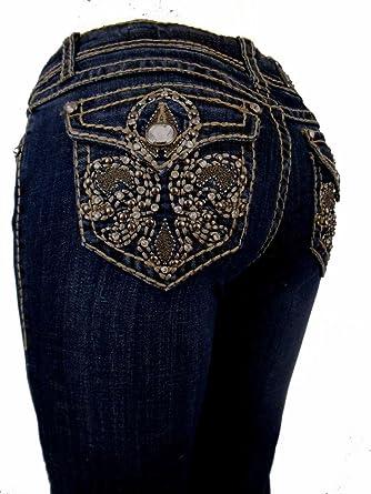 fb71e753d8b L.A. Idol Women Plus Size Capri Jeans Crystal Brown Fleur De Lis Flap  Rhinestone Bold Stitch