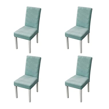 sancua Stretch Dining Chair Cover Set of 4 Removable Washable Jacquard Chair Protector for Dining Room, Hotel, Ceremony, Banquet, Wedding and Party, Light Cyan