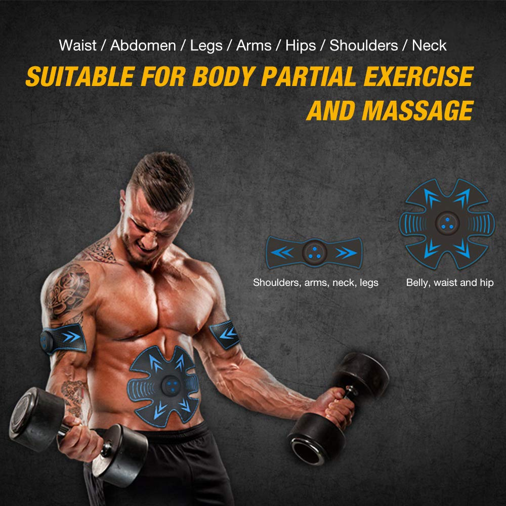 Elebor EMS Abs Belt, Abdominal Muscles Toner,Body Stomach Muscle Stimulator, USB Rechargeable Ab Toner Fitness Training Gel Pad Home/Office Ab Workout Electric Machine for Men & Women