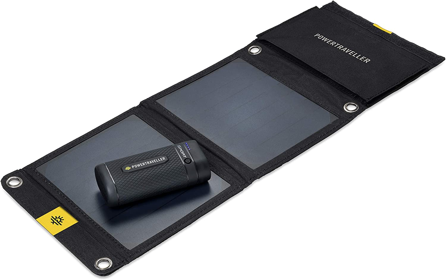 Powertraveller Sport 25 Solar Kit: Portable Outdoor Solar Charger & 6700mAh Power Bank – USB-C Input / Output, 5V USB Quick Charge, Integrated Torch, 7-Watt Folding Solar Panel, Perfect Portable Charg