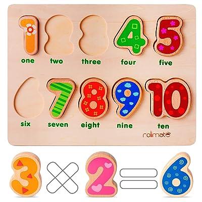 10 Números Preescolar Desarrollo Educativo temprano Rompecabezas de Madera, Regalo de cumpleaños Juguete para la Edad 1 2 3 Niño pequeños Niñas (niños Que cuentan ayudas de Aprendizaje): Juguetes y juegos