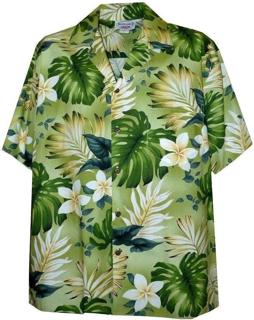Tropical Floral Monstera and Plumeria Hawaiian Shirt
