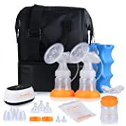 MADENAL Double/Single Electric Breast Pump Travel Set, Ice Pack, Breastmilk Storage Bags, Super Quiet, Effective and Comfortable with On The Go Cooler Bag