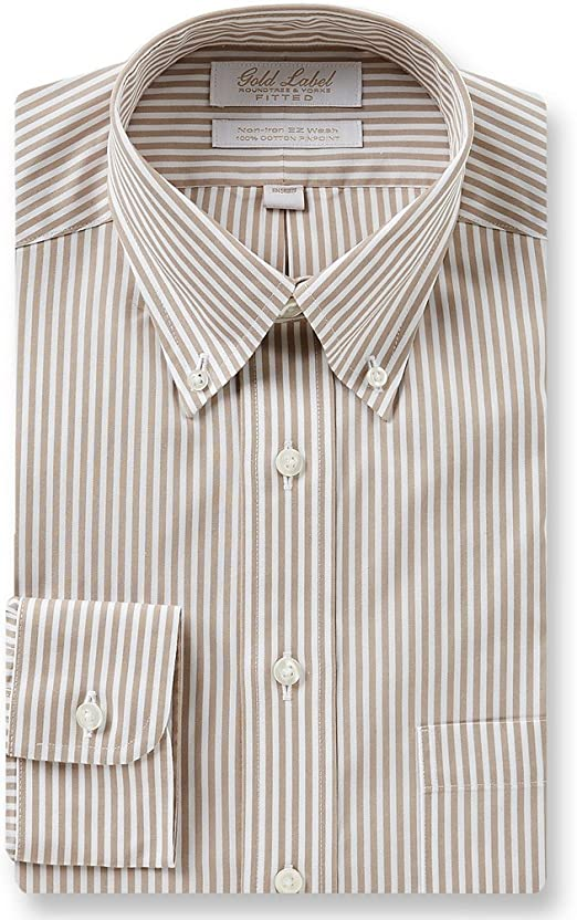 Gold Label Roundtree /& Yorke Non-Iron Fitted Button-Down Stripe Dress Shirt S75DG160 Cranberry