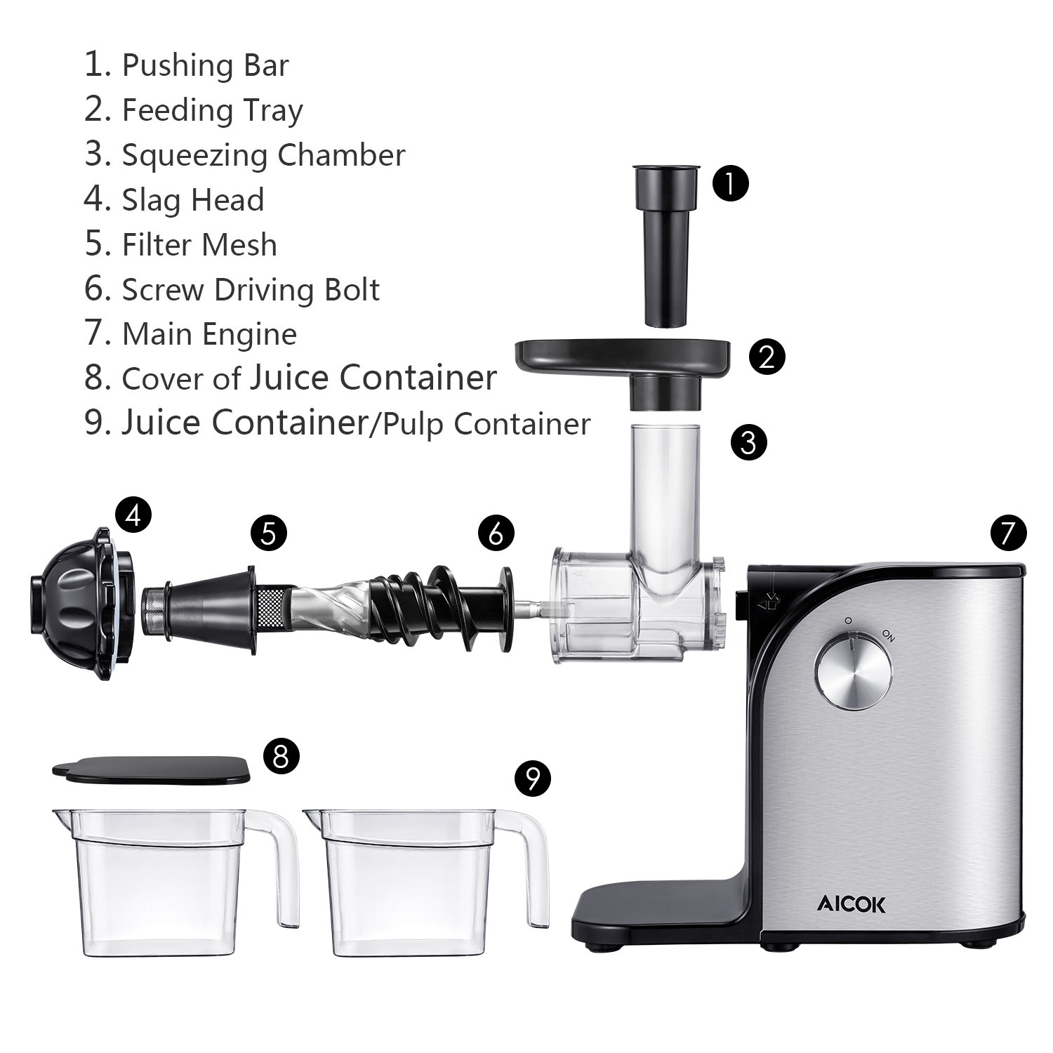 Aicok Slow Masticating juicer, Cold Press Juice Extractor, Stainless Steel, Quiet Motor, High Nutrient Fruit and Vegetable Juice, Black by AICOK (Image #8)