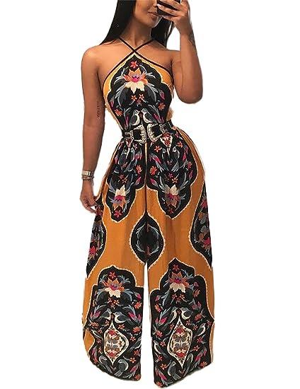 4becc7d19c6 Amazon.com  Ivrose Womens Halter Vintage Print Wide Leg Jumpsuit  Clothing