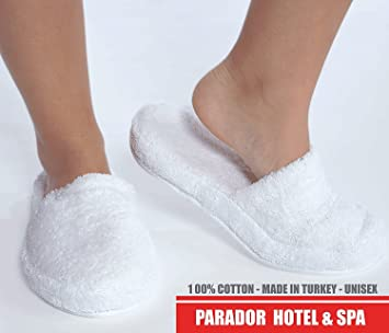 fe49a1081559 Amazon.com   Turkishtowels Luxury 100% Cotton Terry SPA Slippers in White -  Medium   Beauty