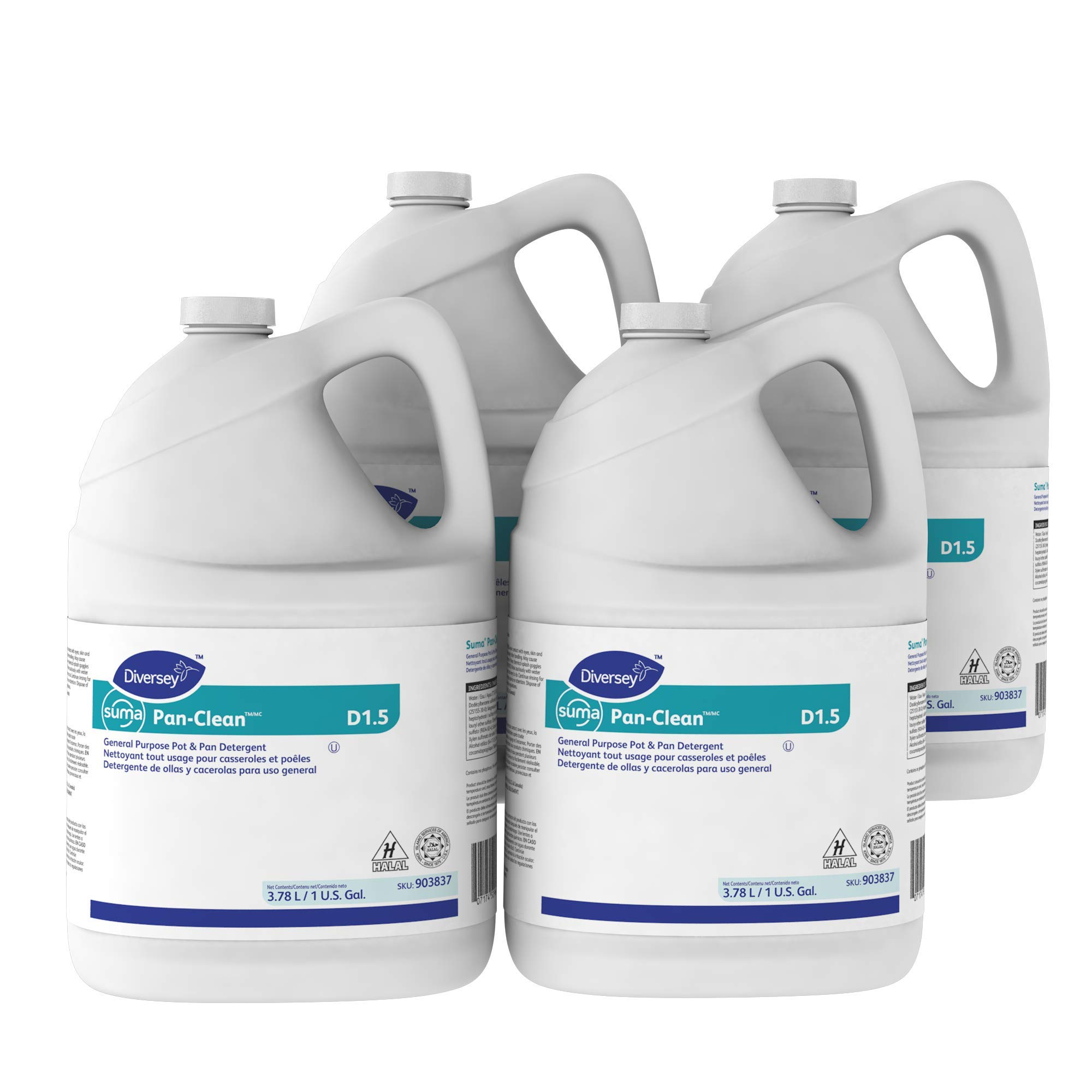 Diversey Suma 903837 Pan-Clean, General Purpose Pot and Pan Detergent, D1.5, 4 x 1 gal/3.78 L Containers (Pack of 4)